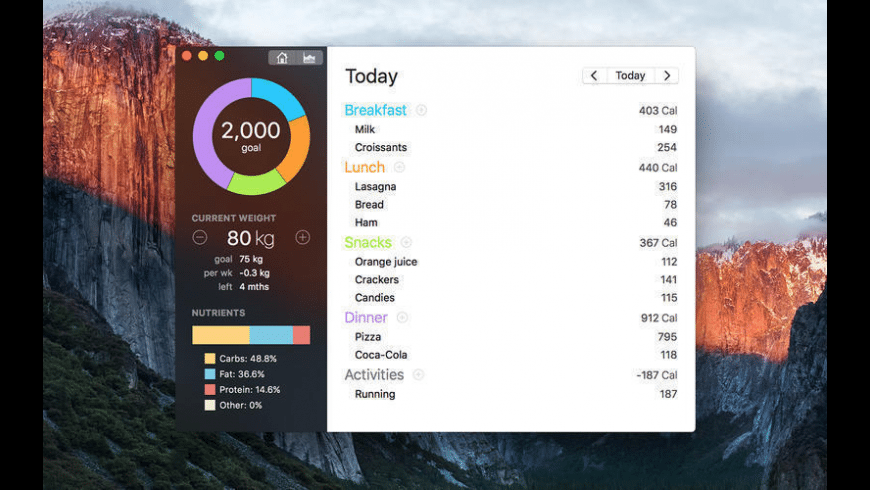 Calories Counter for Mac - review, screenshots