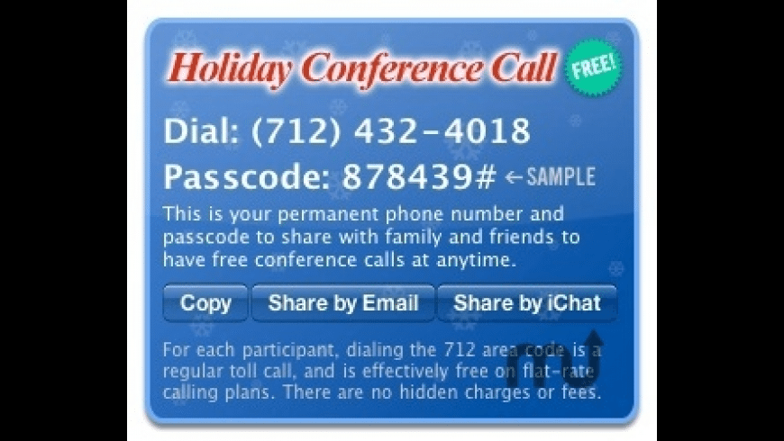 Holiday Conference Call for Mac - review, screenshots