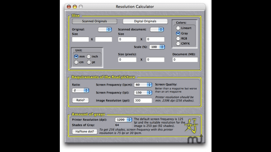 Resolution Calculator for Mac - review, screenshots