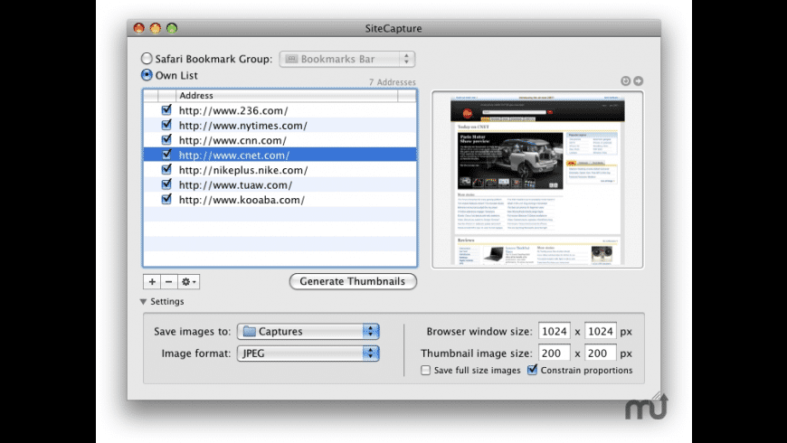 SiteCapture for Mac - review, screenshots
