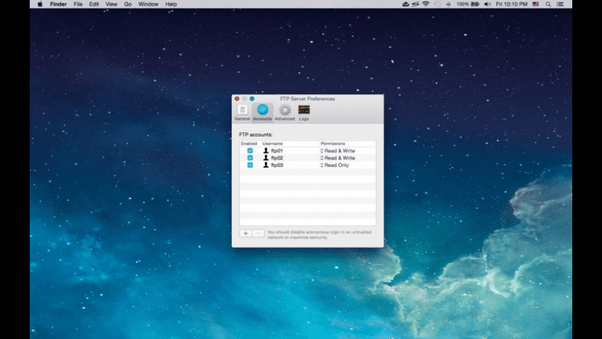 FTP Server for Mac - review, screenshots