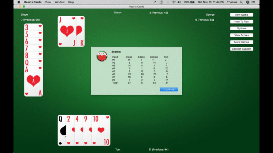 Hearts Cards for Mac - review, screenshots