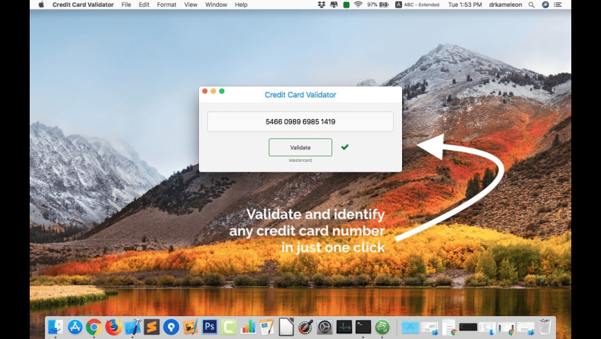 Credit Card Validator for Mac - review, screenshots