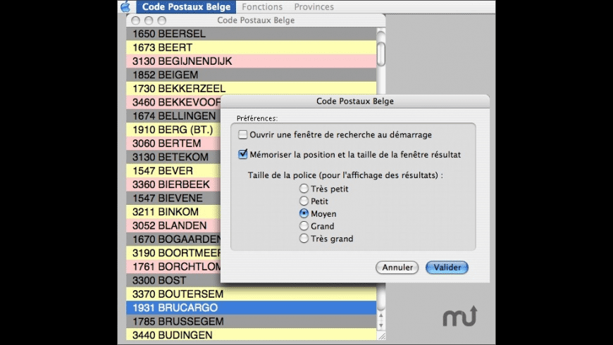 Code Postaux Belge for Mac - review, screenshots