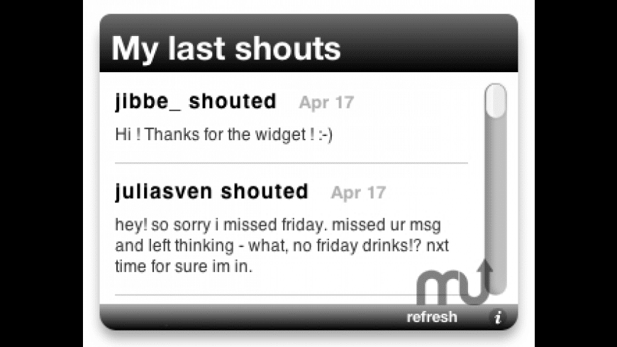 Last.fm Dashboard Widget for Mac - review, screenshots