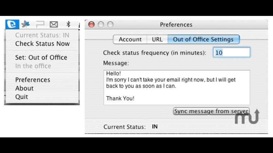Out Of Office for Mac - review, screenshots