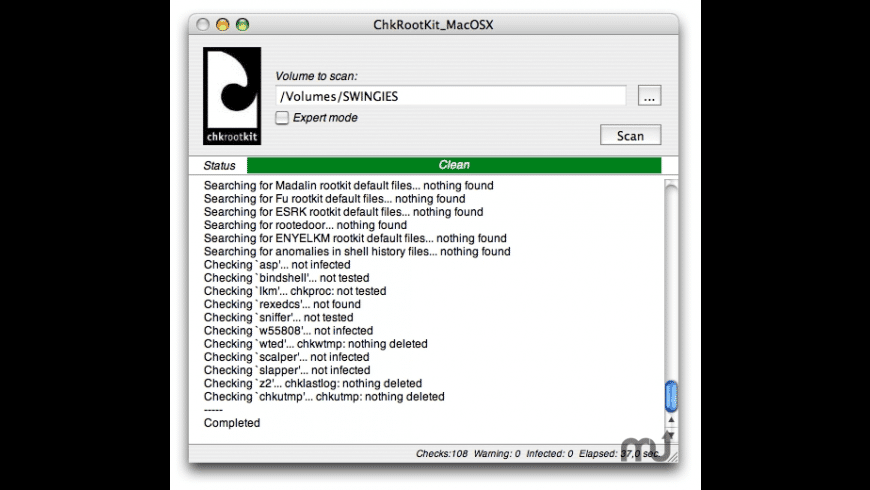 ChkRootKit_MacOSX for Mac - review, screenshots