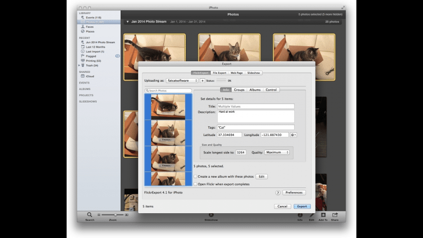 FlickrExport for iPhoto for Mac - review, screenshots