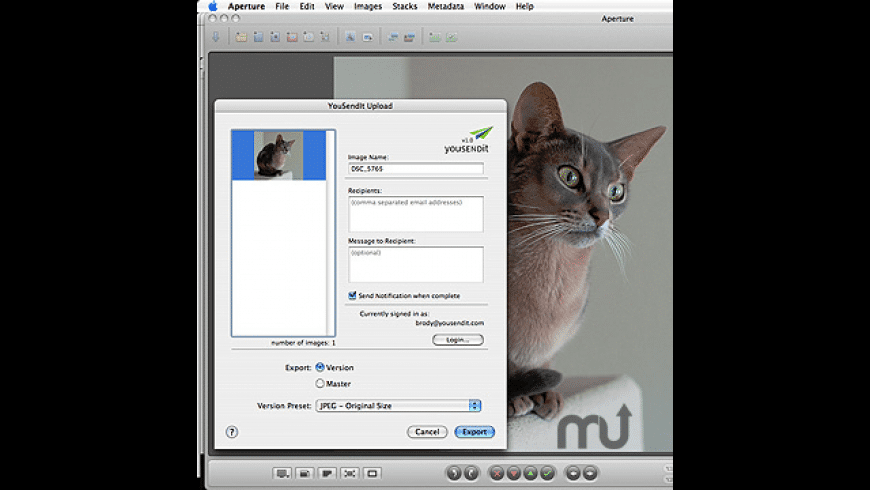 YouSendIt Aperture Export Plug-in for Mac - review, screenshots
