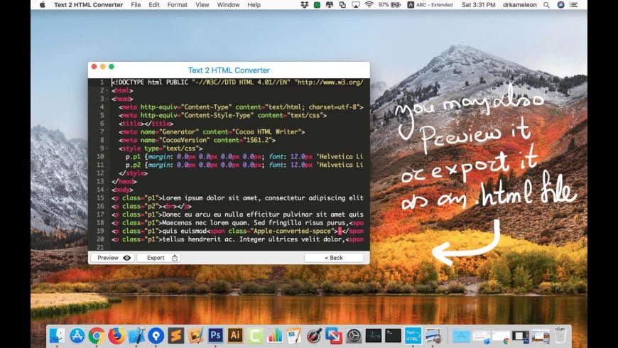 Text 2 HTML Converter for Mac - review, screenshots