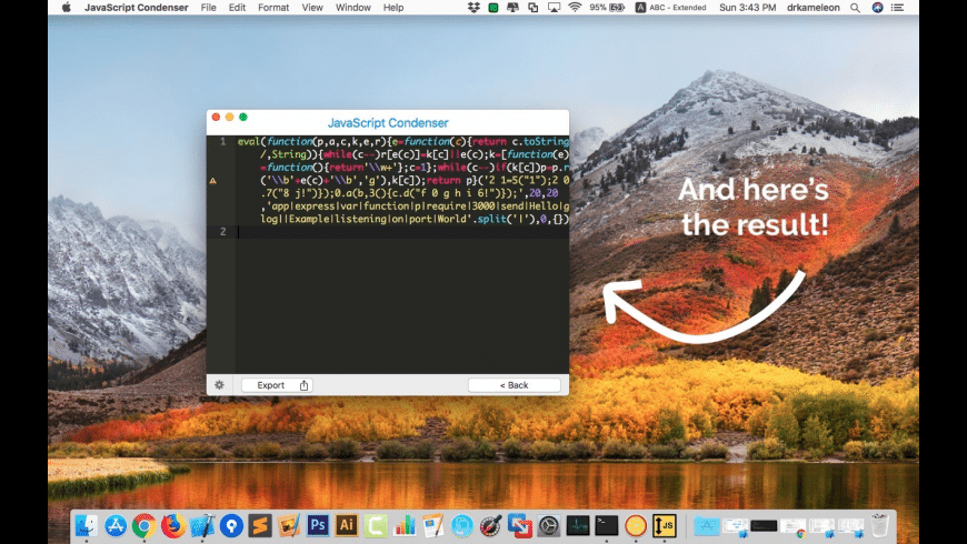 JavaScript Condenser for Mac - review, screenshots