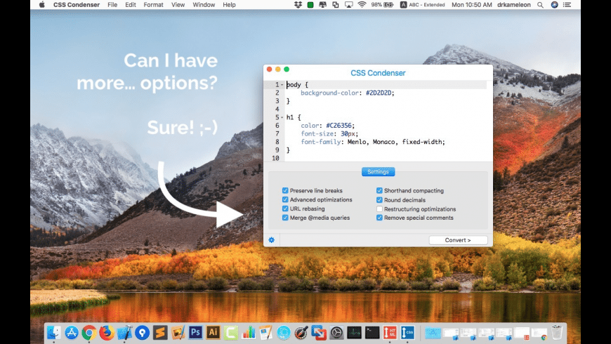 CSS Condenser for Mac - review, screenshots