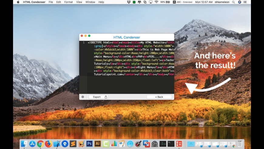 HTML Condenser for Mac - review, screenshots