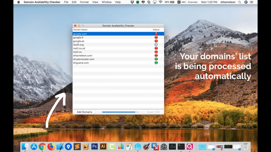 Domain Availability Checker for Mac - review, screenshots