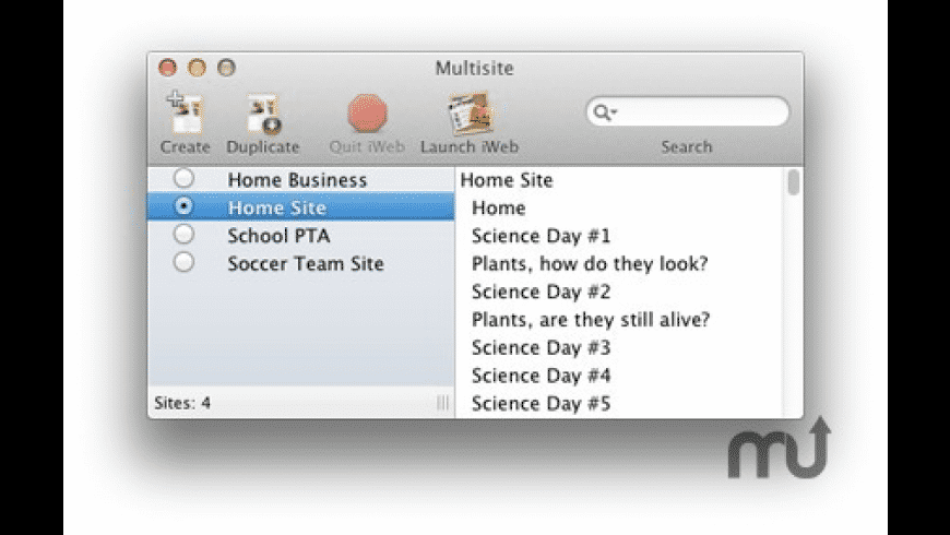 Multisite for iWeb for Mac - review, screenshots