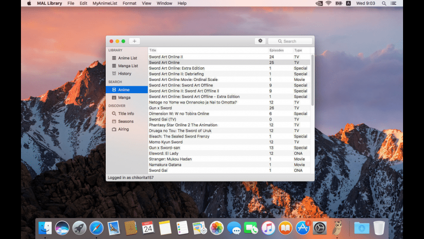 MAL Library for Mac - review, screenshots