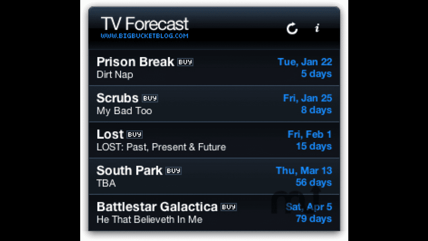 TV Forecast for Mac - review, screenshots