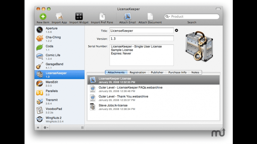 LicenseKeeper for Mac - review, screenshots