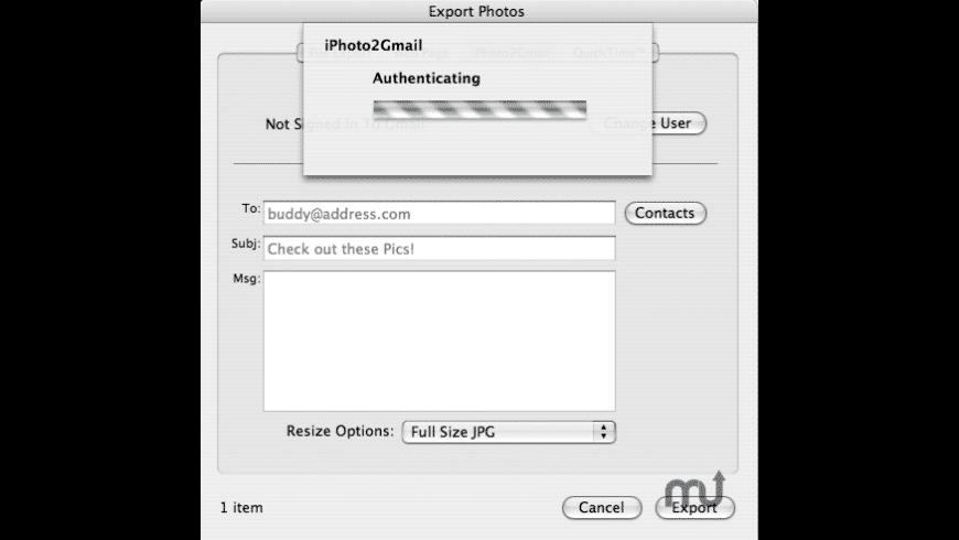 iPhoto2Gmail for Mac - review, screenshots