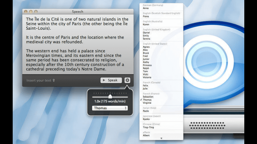 Speech for Mac - review, screenshots