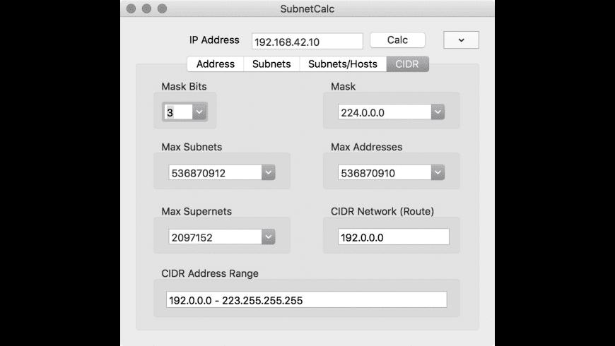 SubnetCalc for Mac - review, screenshots