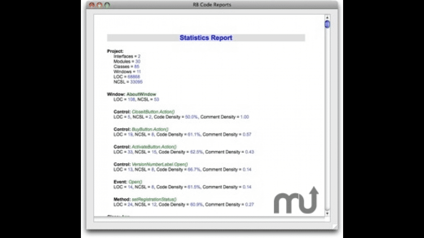 RB Code Reports for Mac - review, screenshots