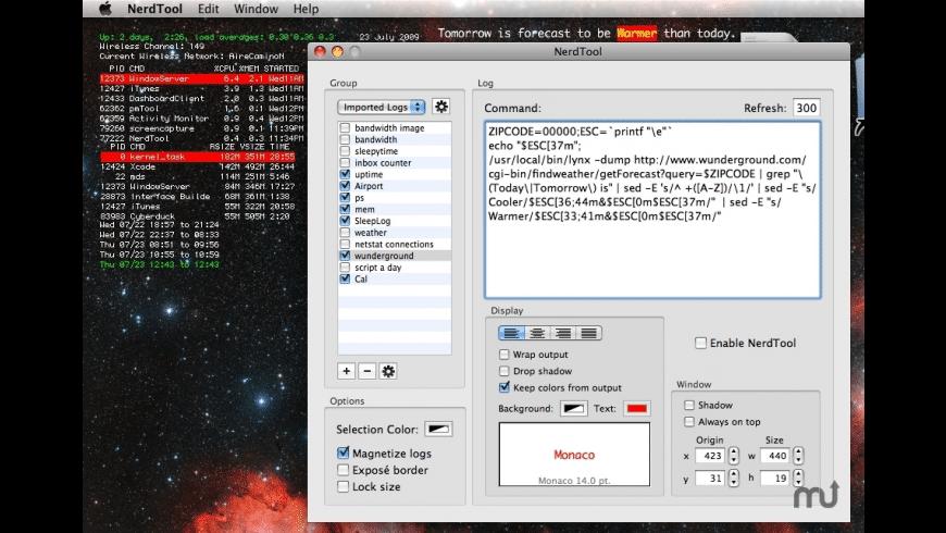 NerdTool for Mac - review, screenshots