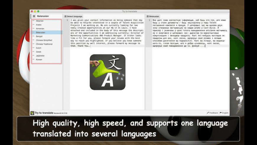 Try to translate for Mac - review, screenshots