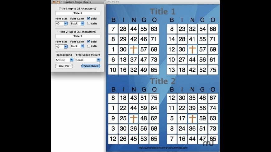 Custom Bingo Sheets for Mac - review, screenshots