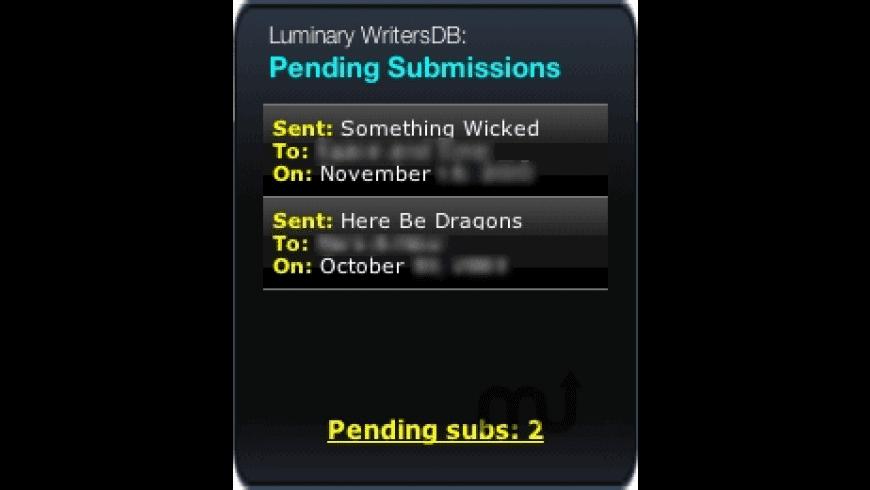 WritersDB Pending Subs Widget for Mac - review, screenshots