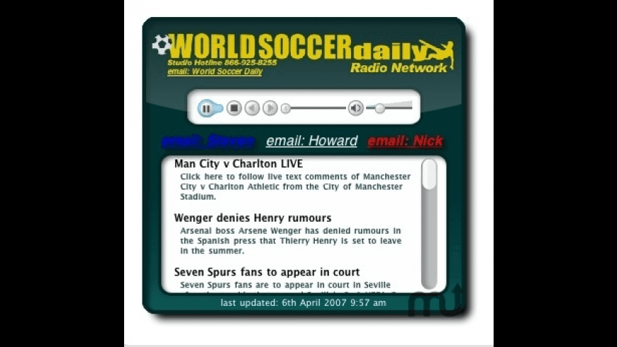World Soccer Daily Widget for Mac - review, screenshots