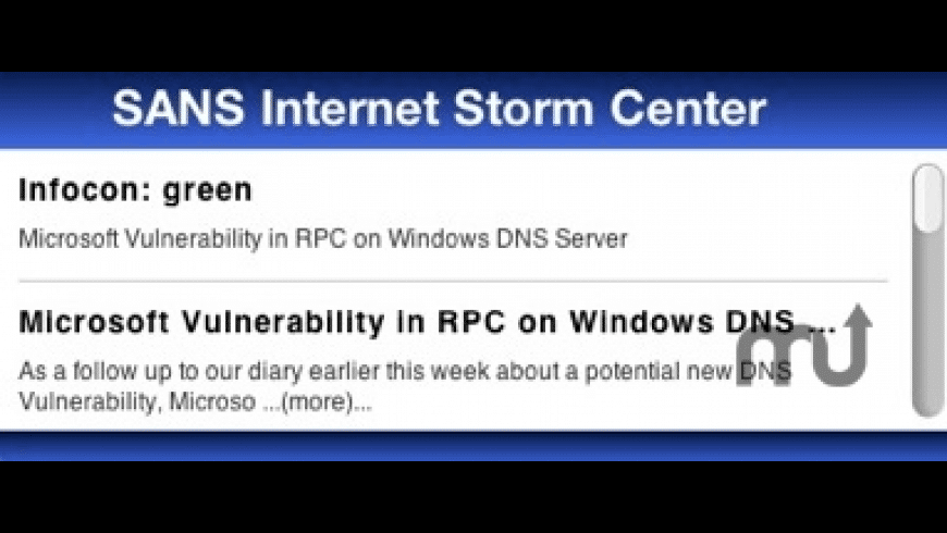 SANS Internet Storm Center Widget for Mac - review, screenshots