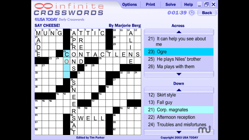 Infinite Crosswords for Mac - review, screenshots