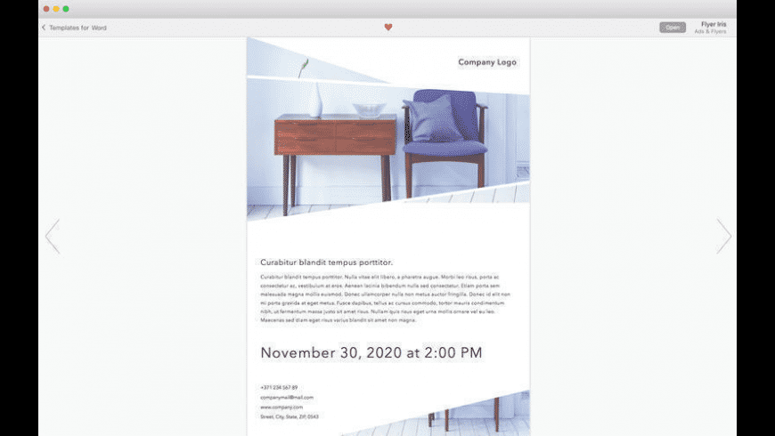 Print Templates for Word for Mac - review, screenshots