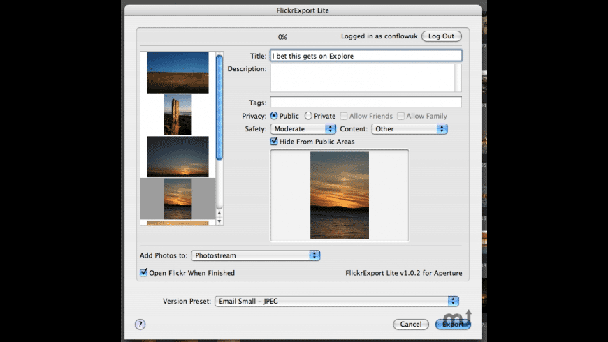 FlickrExport Lite for Aperture for Mac - review, screenshots