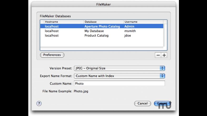 ApertureToFileMaker for Mac - review, screenshots
