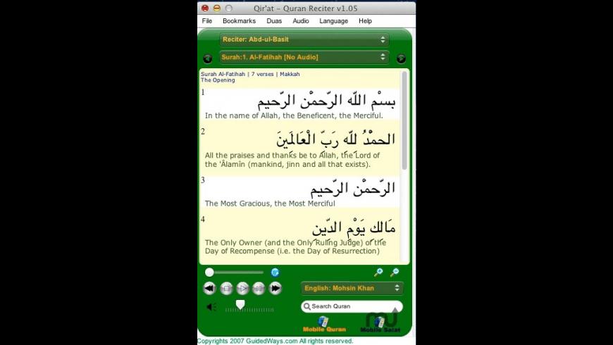 Qir'at Quran Reciter for Mac - review, screenshots
