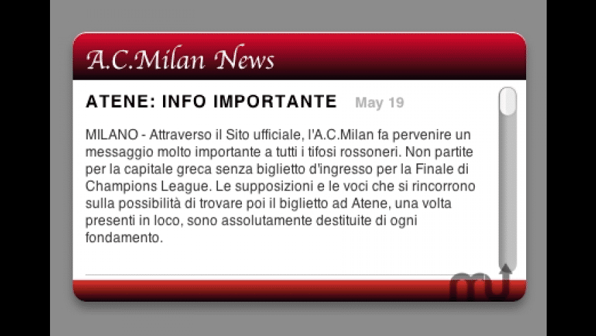 AC Milan News for Mac - review, screenshots