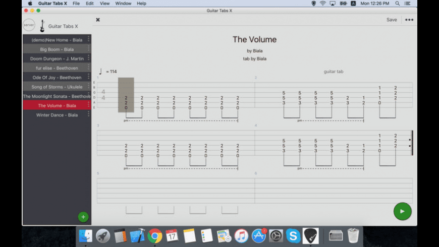 Guitar Tabs X for Mac - review, screenshots