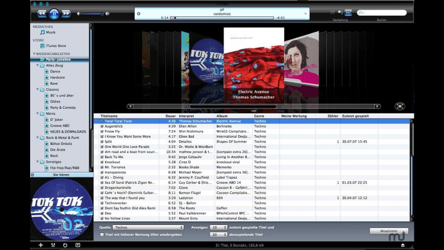 iTunes 7.4.2 DMR Blue Vista Skin for Mac - review, screenshots