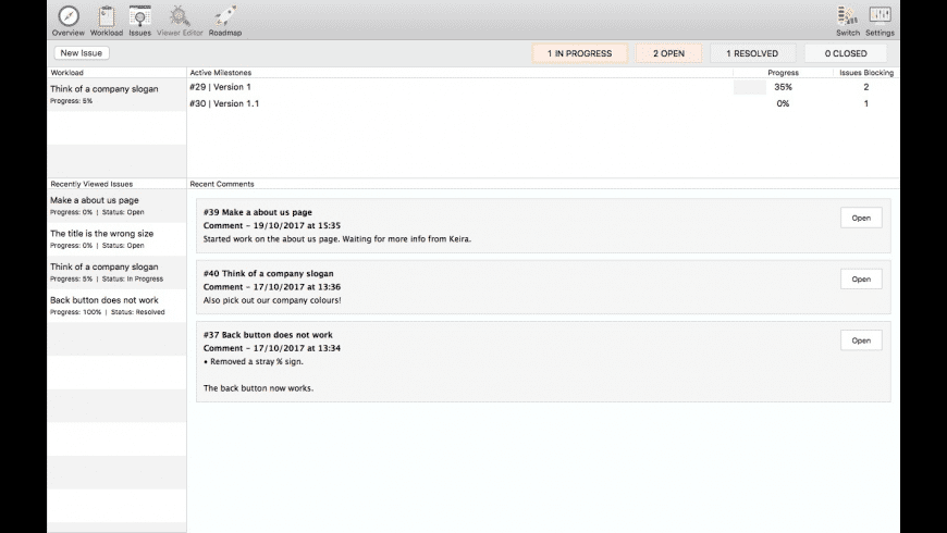 OneTrack Bug Tracker for Mac - review, screenshots