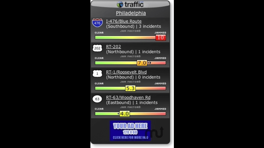 Traffic.com Hotspot Widget for Mac - review, screenshots