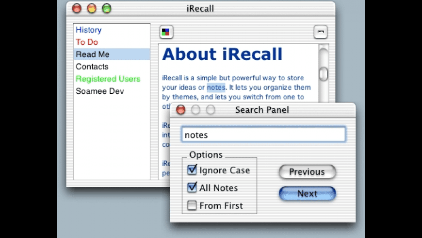 iRecall for Mac - review, screenshots