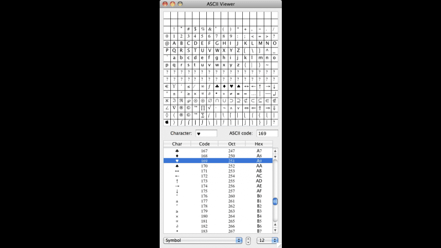 ASCII Viewer for Mac - review, screenshots