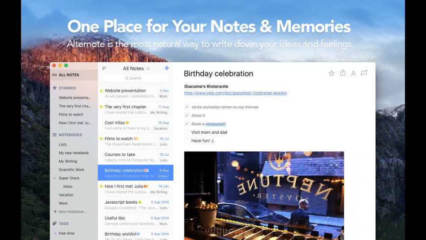 Alternote for Mac - review, screenshots