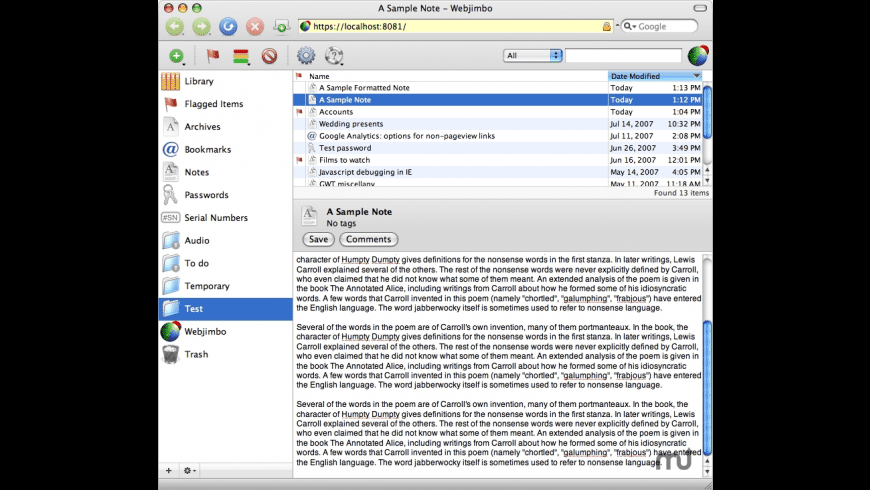 Webjimbo for Mac - review, screenshots