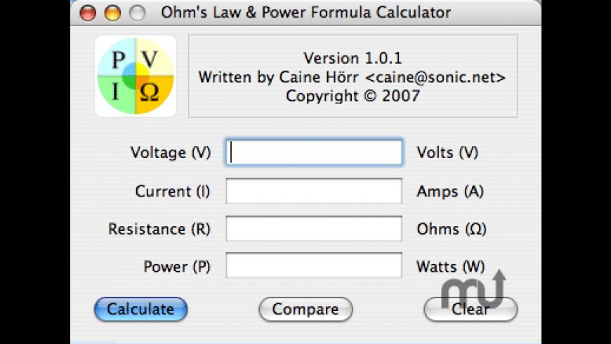 Ohm's Law & Power Formula Calculator for Mac - review, screenshots