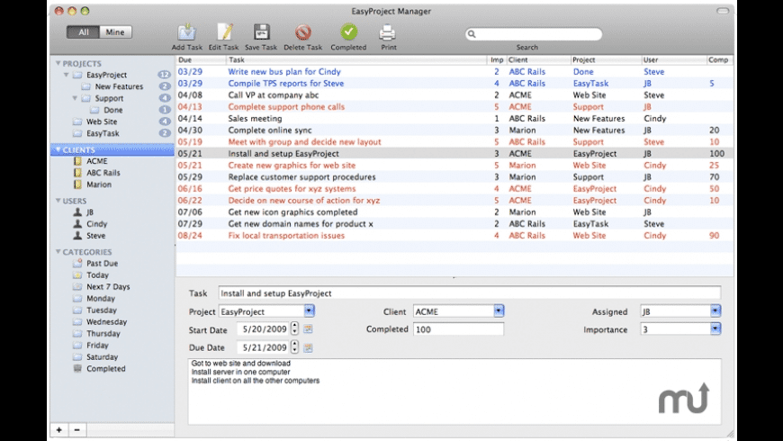 EasyProject Manager for Mac - review, screenshots