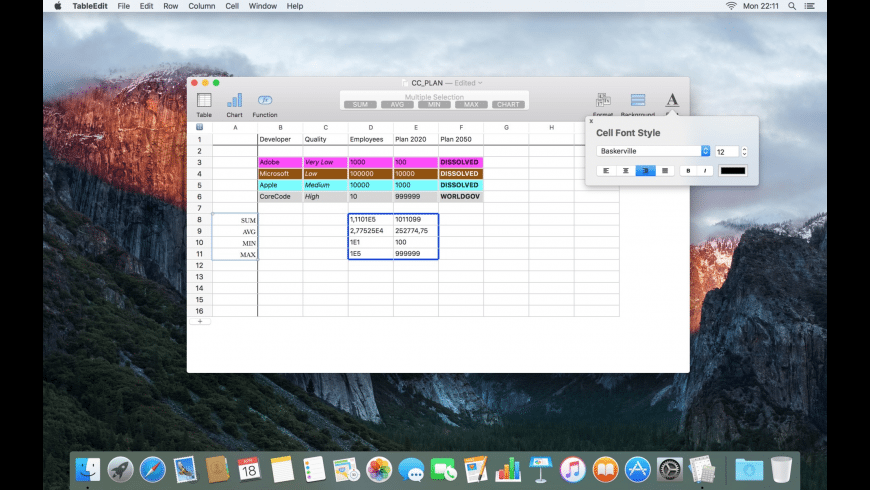 TableEdit for Mac - review, screenshots