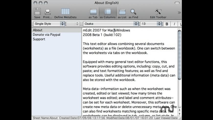 mEdit for Mac - review, screenshots